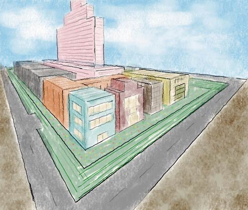 A simple cityscape drawn in three-point perspective.